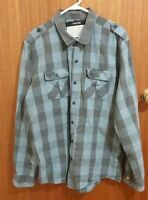 ZANEROBE Men's Blue & Brown Check Long Sleeve Shirt Size XL - EUC