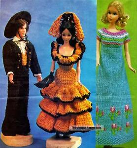 COPY doll patterns KEN /& BARBIE SPANISH COSTUMES crocheted /& knitted dress
