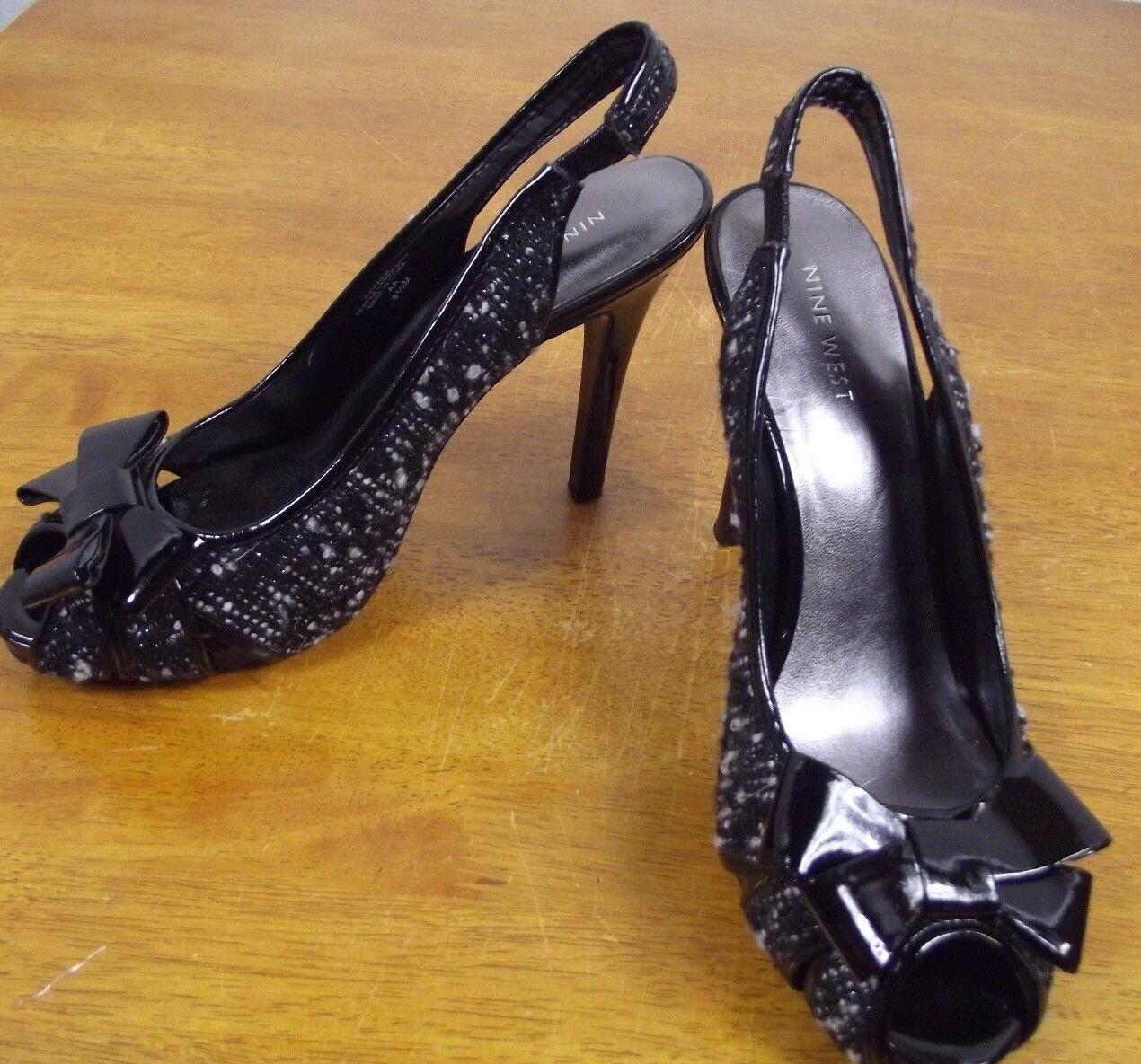 Nine West Womens 8.5 M Black Slingback Tweed Bow Peep Toe Slingback Black Pumps Heels Shoes 375188