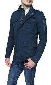 super popolare 117d9 79319 Dettagli su Giubbotto Parka uomo blu scuro estivo casual giacca giubbino  militare in cotone