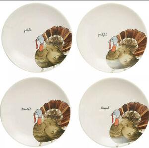 NEW-Rae-Dunn-Magenta-4-Turkey-Appetizer-Side-Salad-Plates-Thanksgiving-LL-8-034