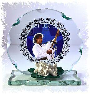 Cliff-Richard-Photo-Cut-Glass-Round-Frame-Plaque-Blue-Mood-custom-made-Edition
