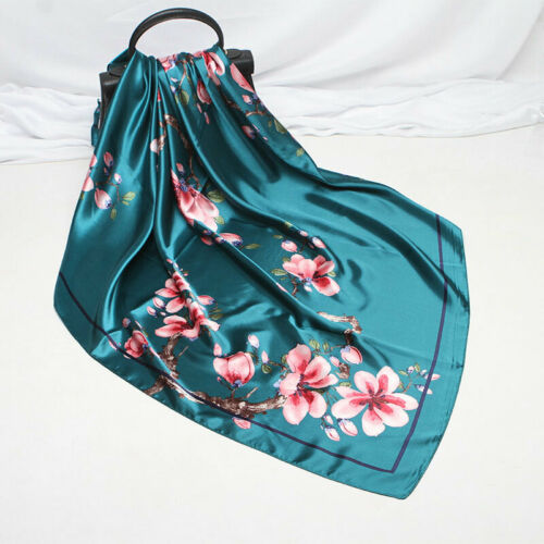 Women/'s Fashion Square Lady Satin Wrap Stole Print Hijab Big Scarf Shawl 90*90cm