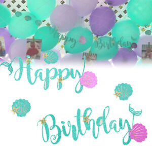 Mermaid Themed Hy Birthday Banner
