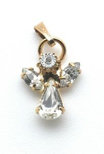 Angel-Pendant-Dangle-Charm-Cubic-Zirconia-Religious-Gold-Plated-Christmas-Gift