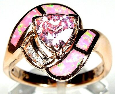 Rose Gold Plated Pink Topaz & Fire Opal Inlay 925 Sterling silver Ring 6,7,8,9