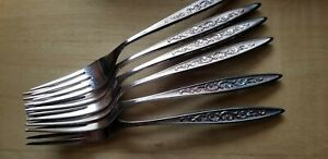 6-ANTIQUE-VINTAGE-Collectible-FORKS-7-5-034-1847-ROGERS-BROS-SILVER-PLATE