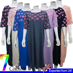 Ladies Nightie Long Night Dress Roses Print Crew Neck Half Sleeves Cotton Pyjama