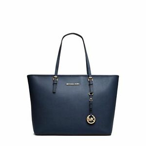 b65443700c1e94 Michael Kors Jet Set Travel Saffiano Leather Tote 38F7GTVT3L Navy Blue