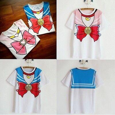 Sailor Moon&Chibiusa/Chibi Harajuku Bow Crew Neck T-shirt Kawaii Top Shirts New