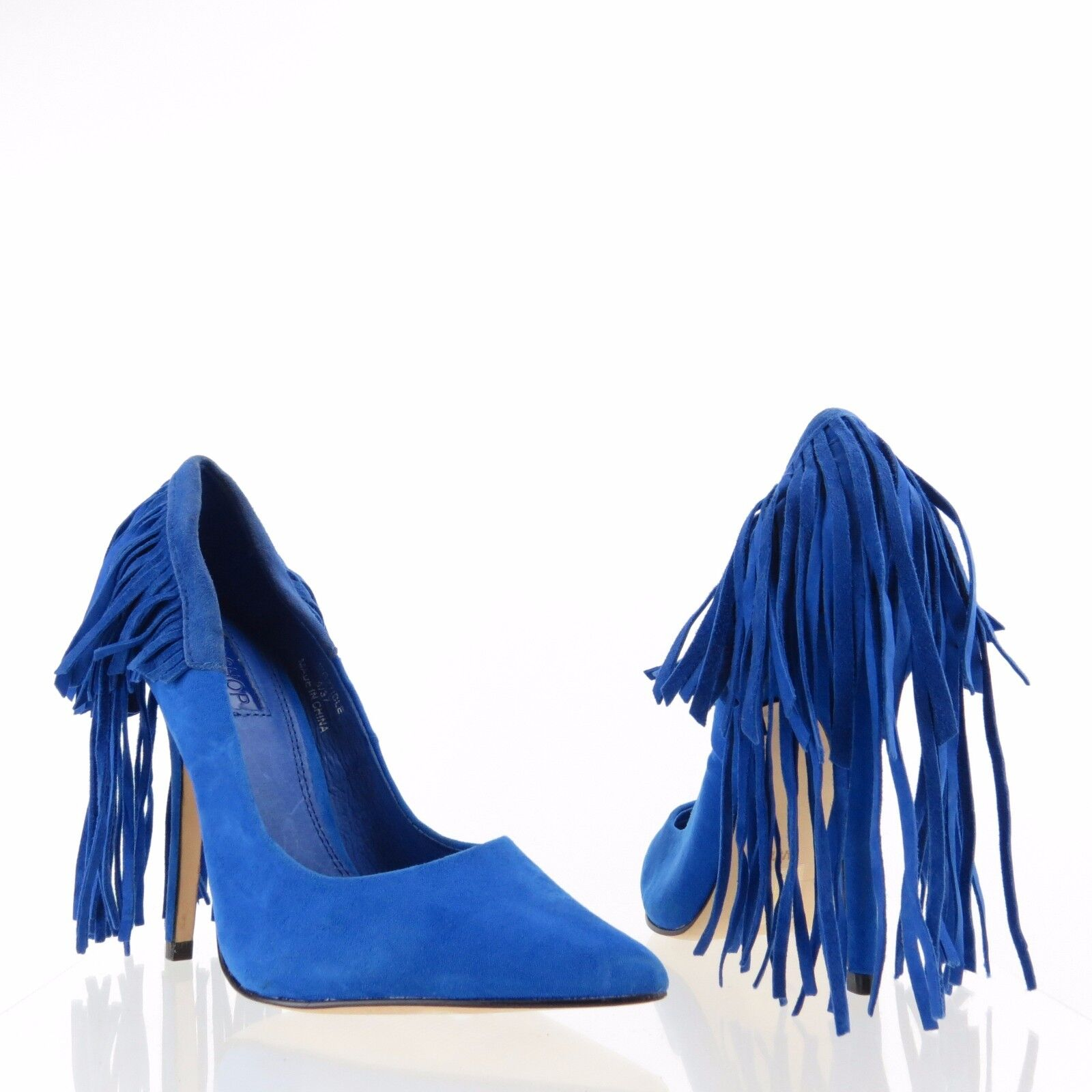 Women's Topshop Geri Fringed shoes bluee Suede Heel Pumps Size NEW
