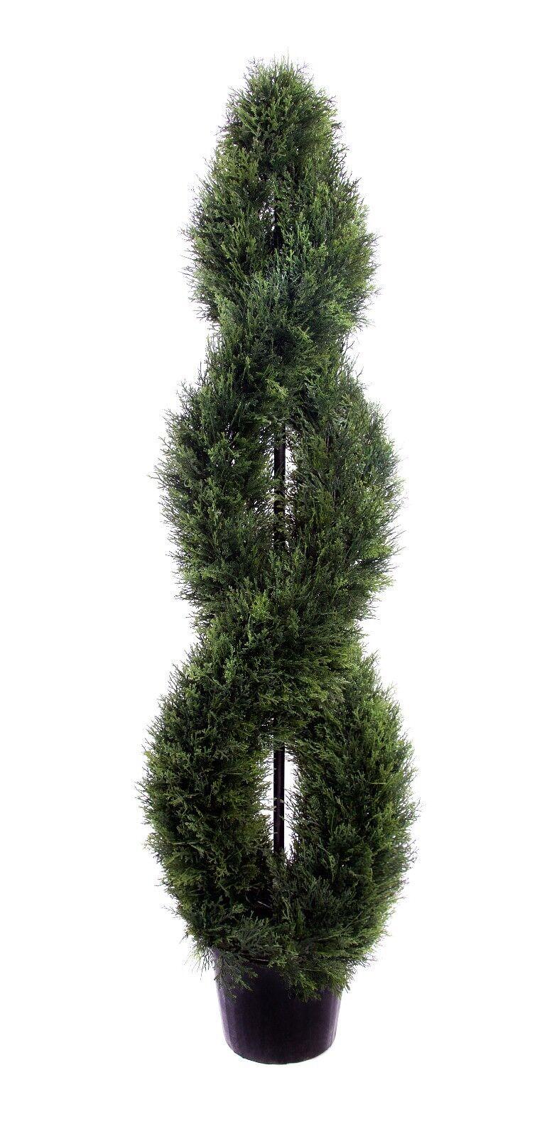 Migliore Artificiale 5ft 150cm Cedar doppio avvitamento a spirale Outdoor topiaria Albero di conifera