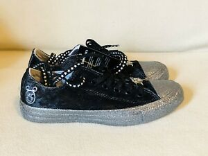 6e654fef1387 CONVERSE ALL STAR MC BLACK VELVET SILVER SPARKLE SNEAKERS WOMENS ...