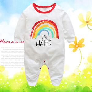 95e53e4953e Newborn Baby Kids Boy Girl Long Sleeve Rainbow Romper Jumpsuit ...