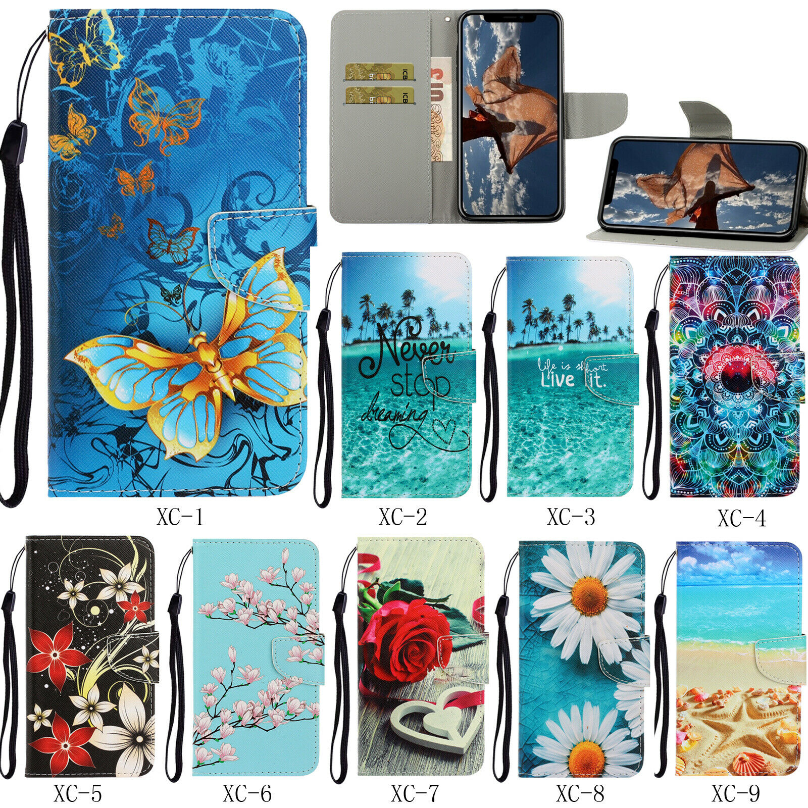 Flip Patterned PU Leather Card Slot Wallet Stand Case Soft Cover Lot Bumper  XC