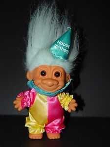"Troll Doll 4 1//2/"" Russ Holland Blue Hair Around the World"