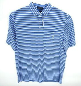 NEW-POLO-RALPH-LAUREN-Size-L-Mens-White-Blue-Striped-POLO-GOLF-Shirt-Classic