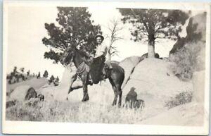 California-RPPC-Real-Photo-Postcard-Man-on-Horseback-marked-034-CA-Ranch-034-c1910s