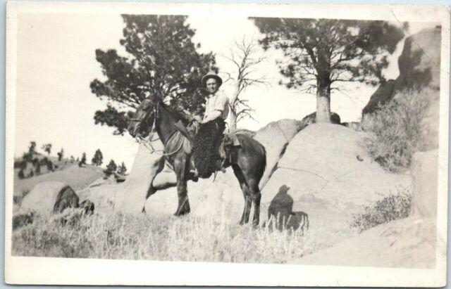 California RPPC Real Photo Postcard Man on Horseback, marked