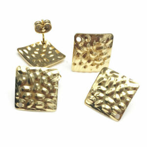 10PCS-Gold-Uneven-Surface-Square-Earring-Stud-Post-With-Ring-DIY-Jewelry-Making