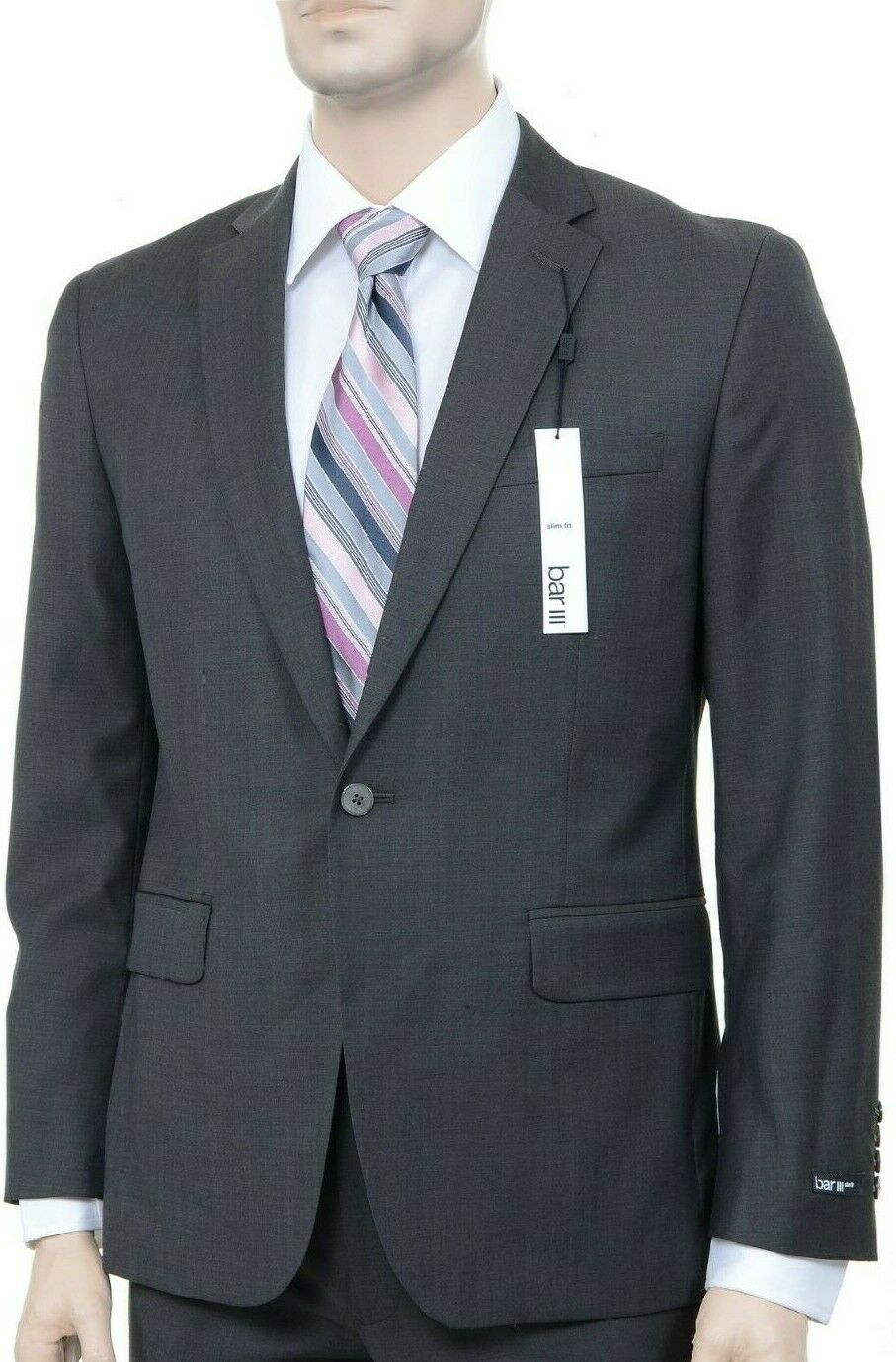 Bar III Slim Fit Solid Brown Two Button 100% Wool Blazer Sportcoat 44L