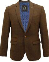 Mens Designer Tan Tweed Herringbone Vintage Coat Jacket Checked Blazer Retro