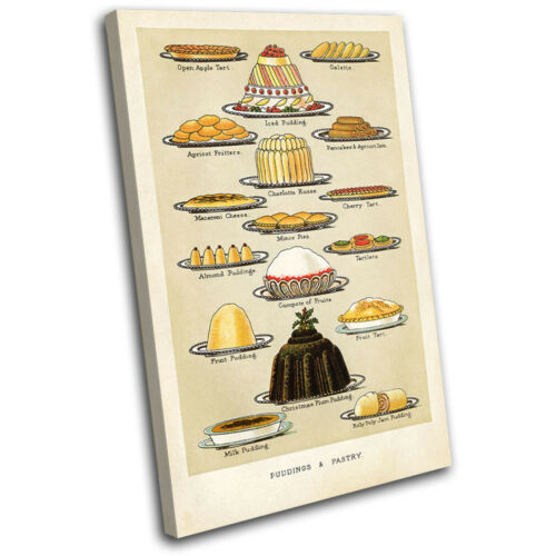 Pudding Pastry Vintage Food Kitchen SINGLE CANVAS WALL ART Picture Print