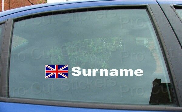 X2 rally race tag name surname car window stickers decals union jack flag ref6