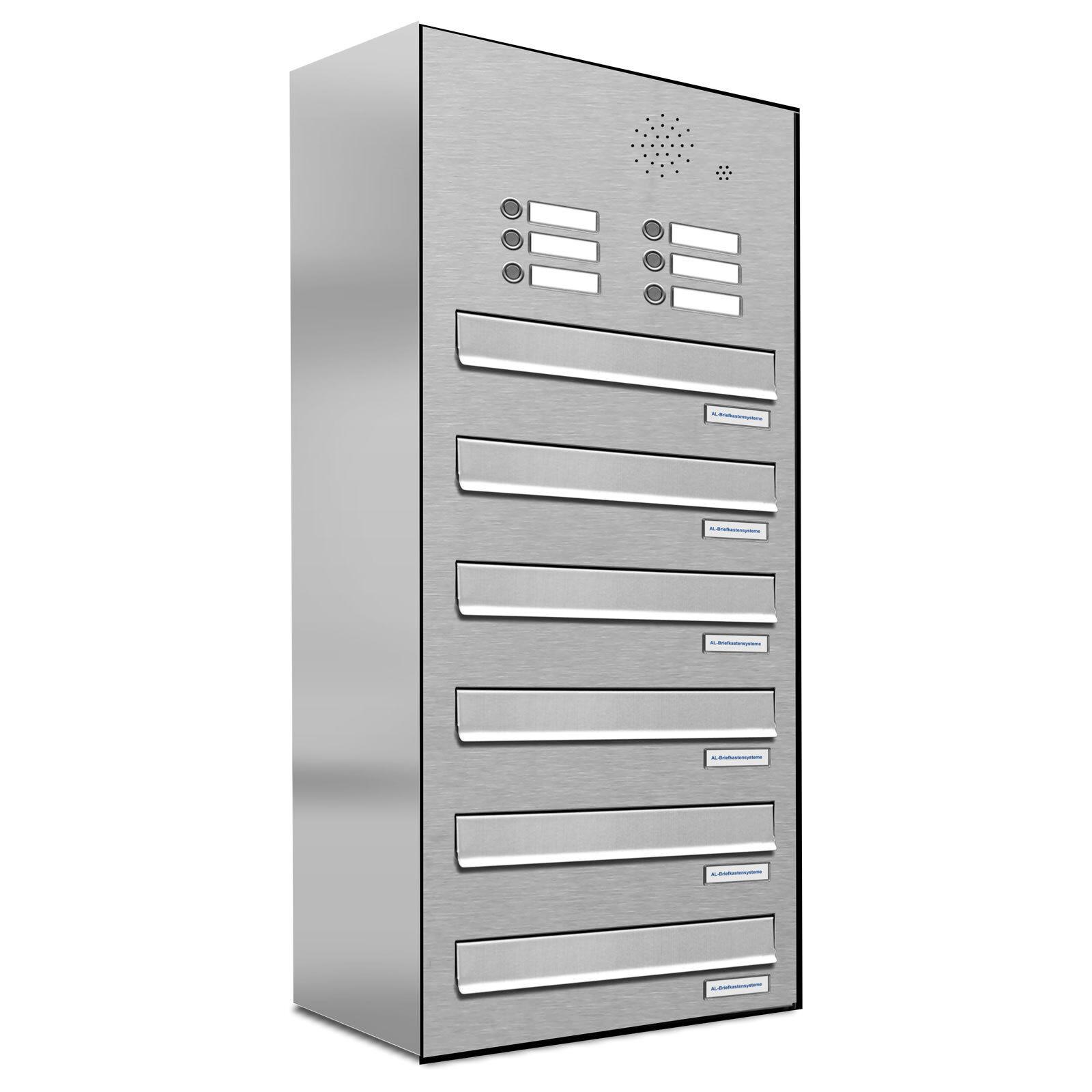 6er Premium V2A Zaun Durchwurf Briefkasten mit Klingel 6 Fach Postkasten A4