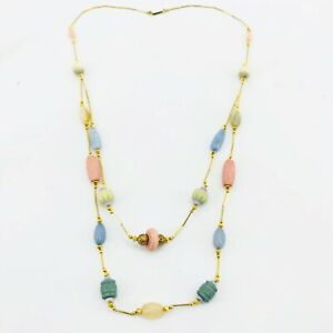 Vintage-Pastel-Bead-Gold-Tone-Multi-Strand-Necklace-Long-33-034-Pink-Green-Blue