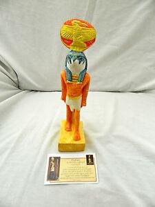 Egyptien-Resine-Dieu-Horus-Statue-Orange-Jaune-Vert-9-5-034-Neuf-Excellente
