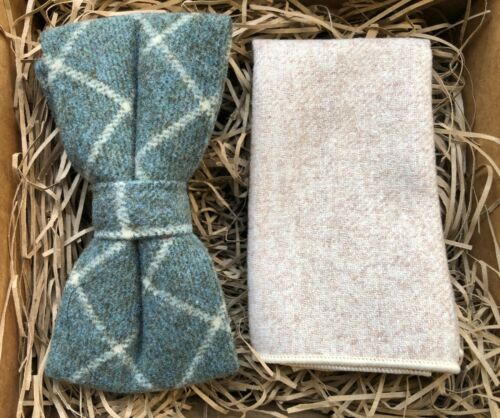 Green Check Pre-Tied Bow Tie Cream Wool Pocket Square Mens Bow Ties UK