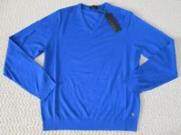 Auth Z Zegna Solid Blue Wool V Neck Long Sleeve Sweater Sz S $445