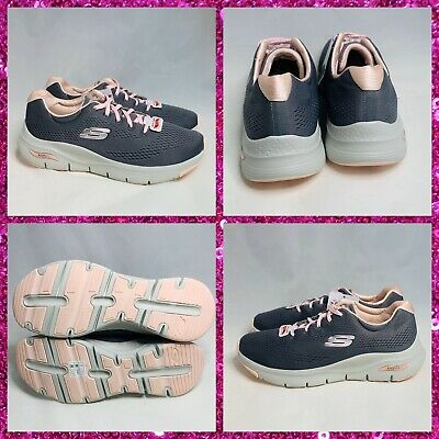 women's skechers arch fit comfy wave sneakers gray pink