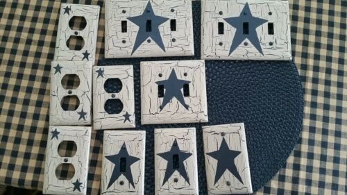 Primitive Crackle Switch Plate covers Lot of 12Country Decor black star rustic