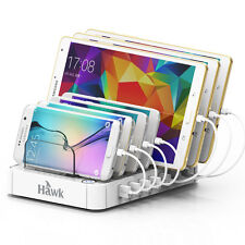 7 USB Multi Port Fast Wall Charger Quick Charging Station Dock  -White