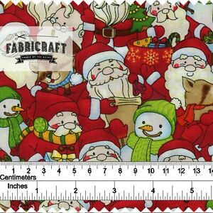 Christmas-Fabric-Snowman-Santa-on-red-100-cotton-1-metre