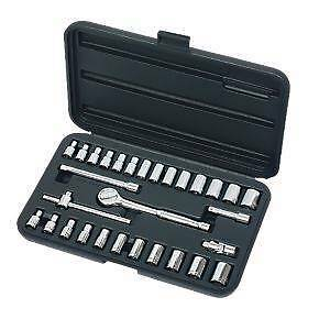 "30 Pc SOCKET SPANNER SET 1/4"" DRIVE HEAT TREATED CHROME VANADIUM STEEL CAR VAN"