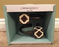 Cynthia Rowley Curtain Tie Backs Brown And Beige Blocks - Set Of 2