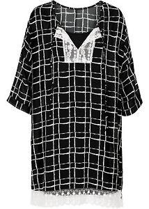Damen-trendiges-Kleid-mit-Spitze-in-schwarz-weiss-kariert-Groesse-40-NEU