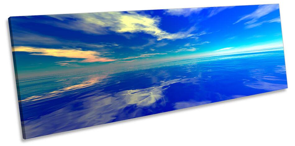 Blau Ocean Seascape Sunset Bild PANORAMA CANVAS Wand Kunst Drucken