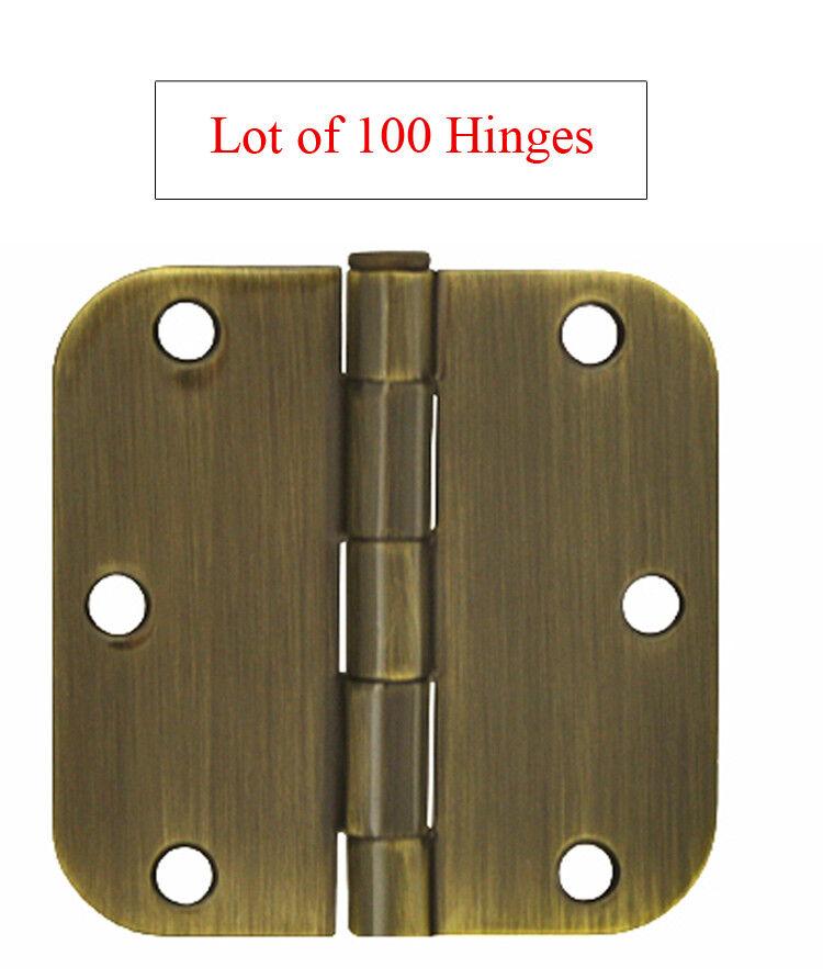 100 Antique Brass 3.5  X 3.5  w 5 8  Radius round Corner Interior Door Hinges