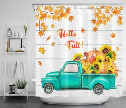 Hello Fall Sunflower Pumpkins Pickup Maple Waterproof Fabric Shower Curtain Set