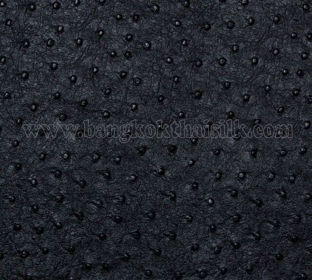 BLACK OSTRICH EMU FAUX LEATHER FABRIC for UPHOLSTERY SEAT STOOL BOOK SHOES BAG
