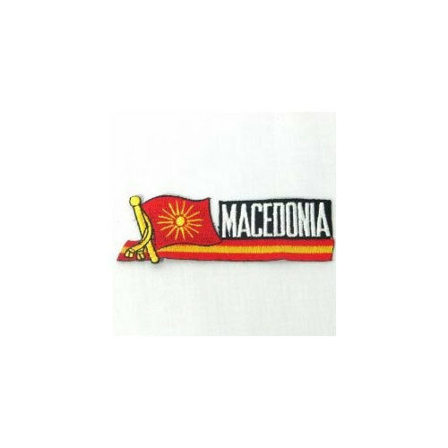 MACEDONIA OLD SIDEKICK WORD COUNTRY FLAG IRON-ON PATCH CREST BADGE 1.5 X 4.5 IN.