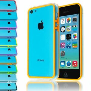 TRANSPARENT-CLEAR-FRAME-BUTTONS-BUMPER-CASE-PLASTIC-COVER-FOR-APPLE-IPHONE-5C