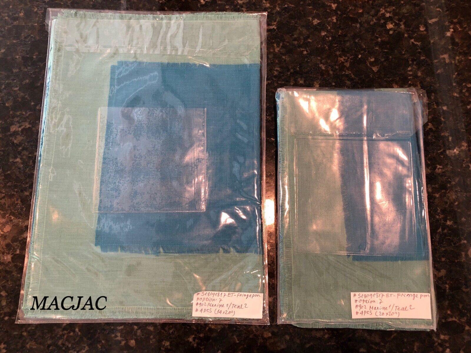Sferra Lot de 4 sets de table 4 serviettes 100% lin marine turquoise NEUF