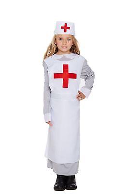 KIDS WW1 NURSE GIRLS DRESSING UP OUTFIT FIRST WORLD WAR FANCY DRESS COSTUME 4-12