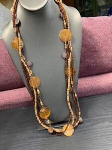 "Vintage Bohemian Exotic Large Shell Wood Beaded Multi Strand Necklace   32"""