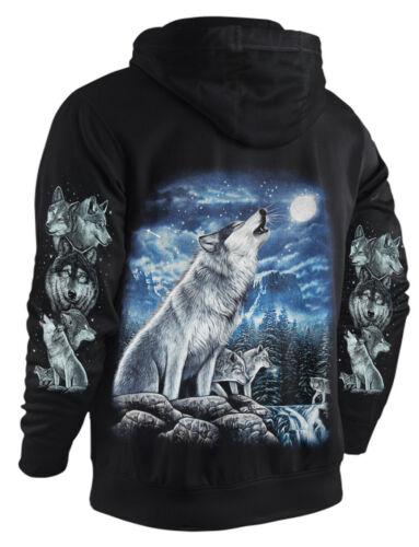Sweatshirt-Jacke Hoody WÖLFE AM WASSERFALL